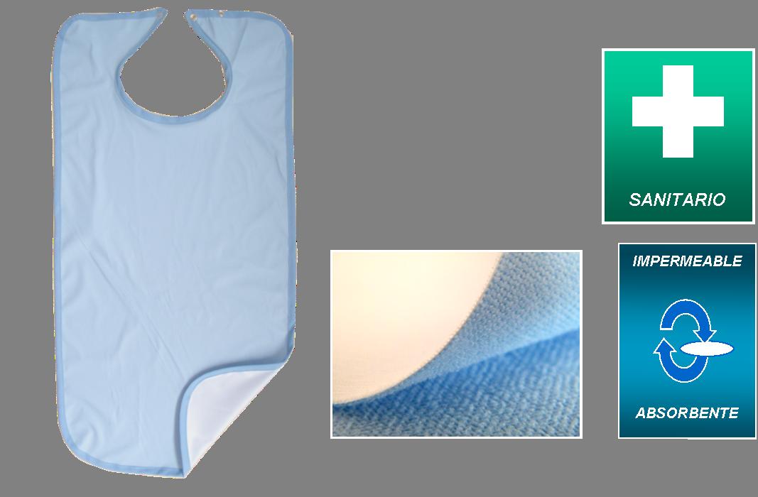 Babero Microfibra Azul Confort